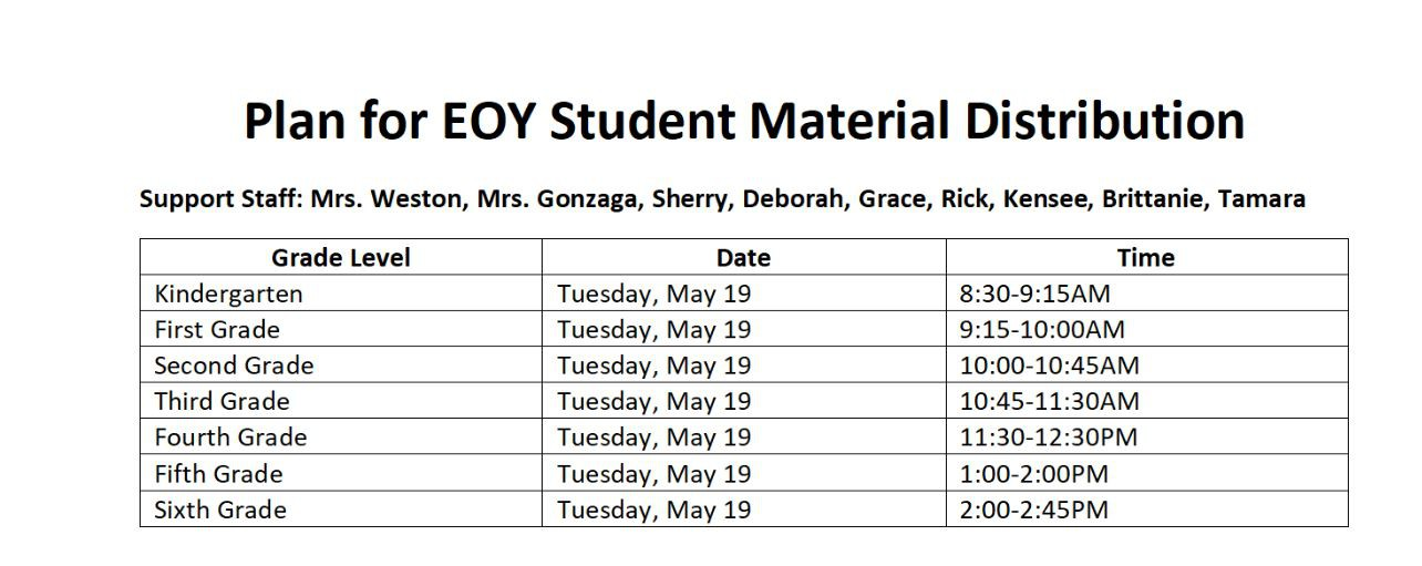 Student Pick Up Schedule